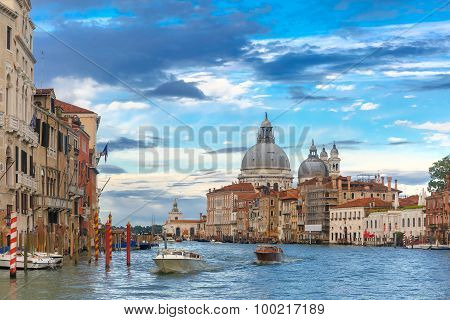 Grand canal at night in Venice, Italy