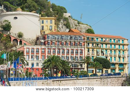Exterior of the historical buildings and Hotel Suisse in Nice, France.