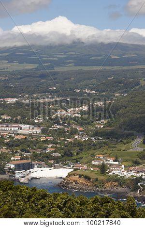 Azores Landscape. Angra Do Heroismo And Santa Barbara Peak. Terceira