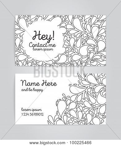 Name cards with sketchy bubbles on background.