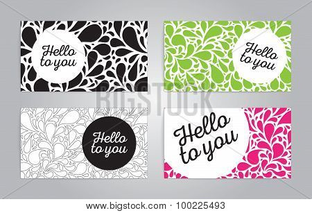 Name cards or banners with bubbles on background.