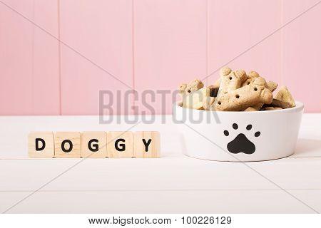 Dog Treats On A White Bowl