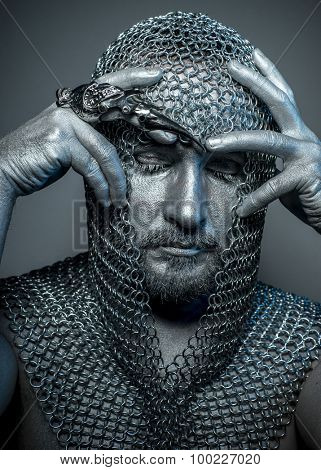 Figure, medieval executioner mesh iron rings on the head