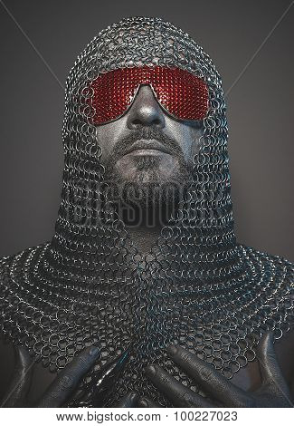 medieval executioner mesh iron rings on the head