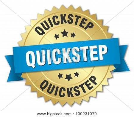 Quickstep 3D Gold Badge With Blue Ribbon