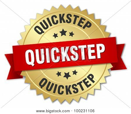 Quickstep 3D Gold Badge With Red Ribbon