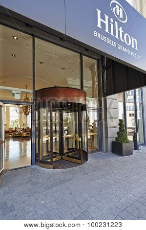 Glass Revolving Door At Hotel Hilton Grand Place