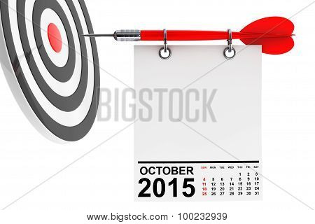 Calendar October 2015 on blank note paper with free space for your text with target poster