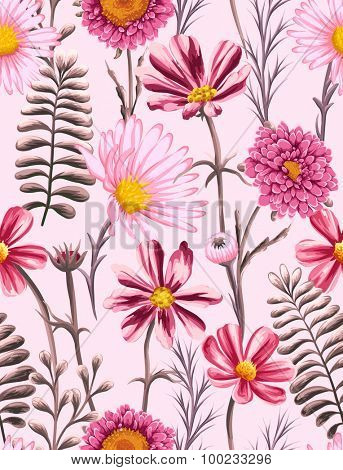 Floral seamless pattern with flowers and leaves on pink background in watercolor style