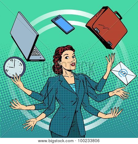 Businesswoman many hands business idea time management