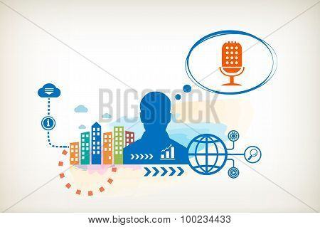 Microphone And Person With Bubbles For Dialogue.