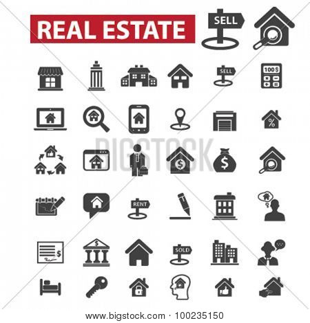 real estate, agent, sell house black isolated concept icons, illustrations set. Flat design vector for web, infographics, apps, mobile phone servces