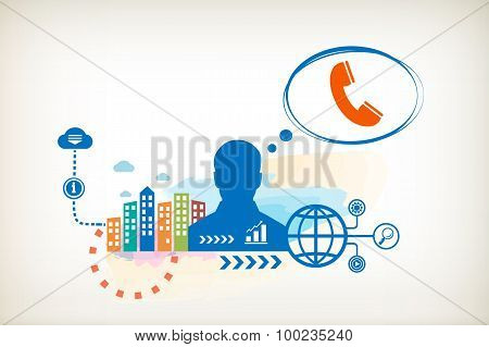 Phone And Person With Bubbles For Dialogue.