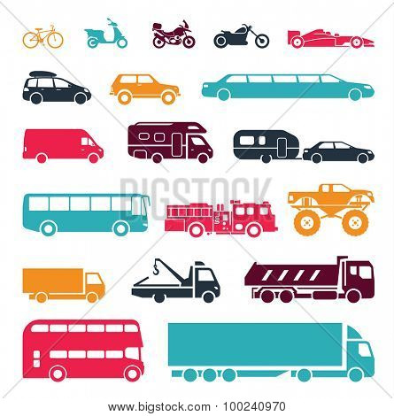Signs presenting different means of transportation. Collection of signs presenting different modes of transport on land. Modern means of transportation. Transportation icons.