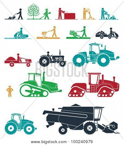 Set of different types of agricultural vehicles and gardening machines. Mower, trimmer, saw, cultivator, tractors, harvesters, combines and excavators. Icon set of working machines.