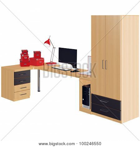 Furniture collection with computer and some office accessories. 3d graphic