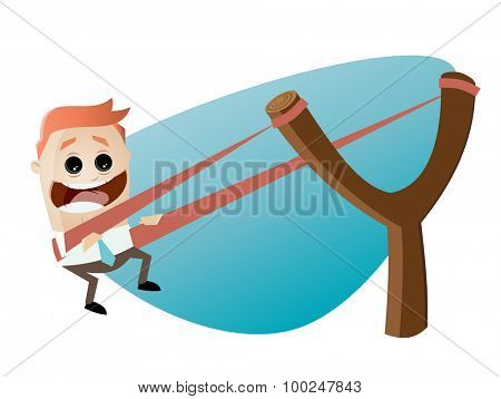 funny businessman in slingshot