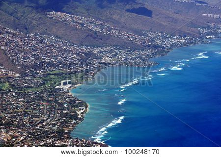 Aerial View Of Kahala, And H-1 Highway, Pacific Ocean, Clouds, And Golf Course