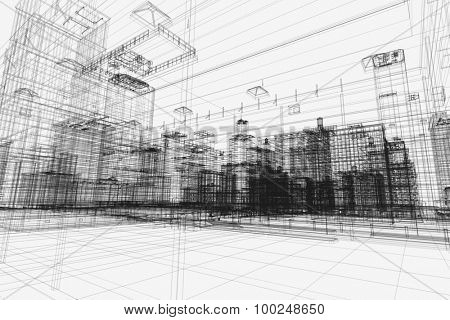 City buildings project, 3d wireframe print, design. Architecture, urban plan, real estate industry