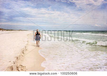 Mature Woman Walking on Beach Art Photograph
