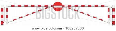 Gated Road Barrier Closeup, No Entry Sign, Roadway Gate Bar In Bright White And Red, Traffic Stop