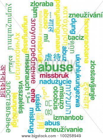 Background concept wordcloud multilanguage international many language illustration of abuse