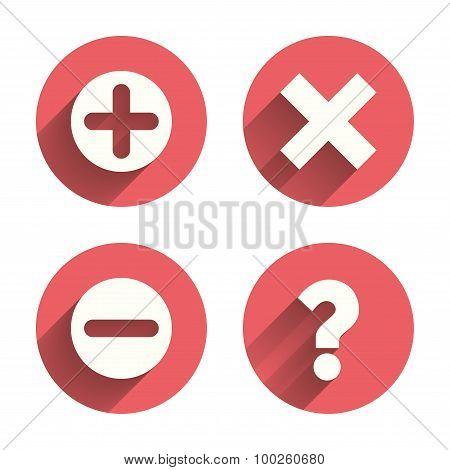 Plus and minus icons. Question FAQ symbol.