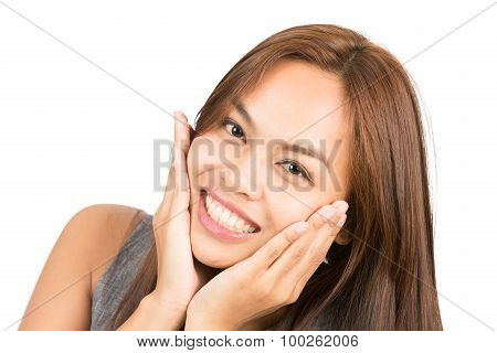 Adorable Asian Girl Hands Cupping Face Smiling