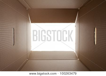 Opened cardboard packaging box