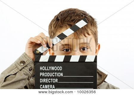 Boy With Movie Clapper Board