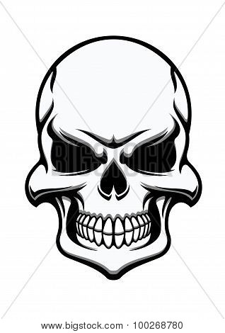 Black and white eerie human skull