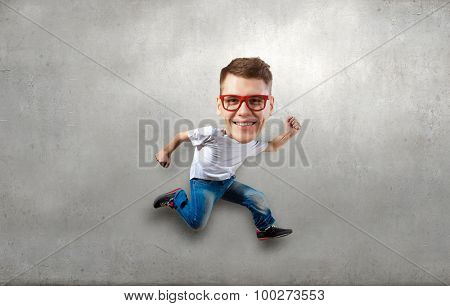 Funny picture of running man with big head over cement background