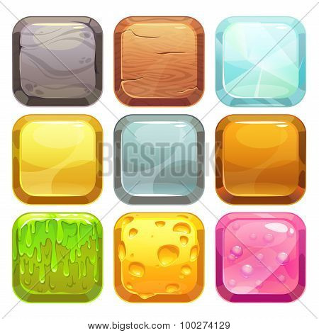 Cartoon square buttons set, app icons
