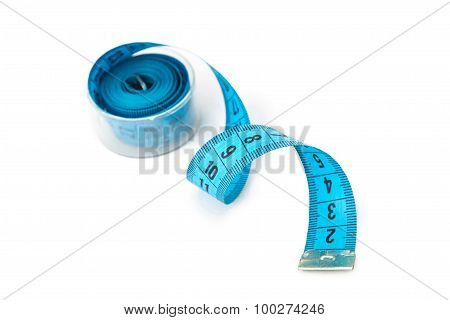 Photo blue measuring untwisted tape in a box
