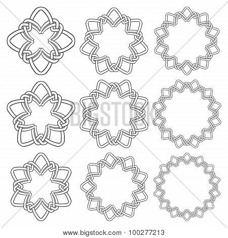 Set of magic knotting circles. Nine annular decorative elements with stripes braiding for your design. poster