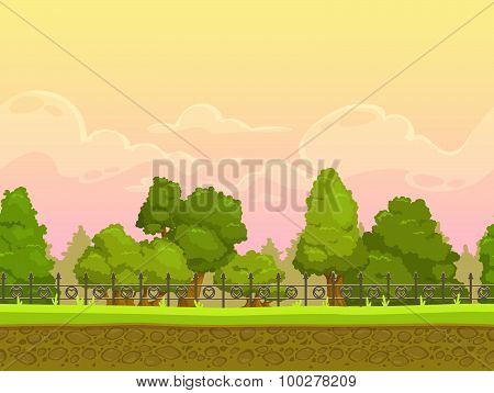 Seamless cartoon park landscape