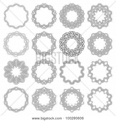 Sixteen decagon decorative elements with stripes braiding