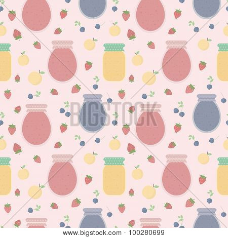 Homemade jam. Seamless pattern with fruits and berries, and jars of jam. Vector background for design of wallpaper, wrapping paper, textile and package design poster