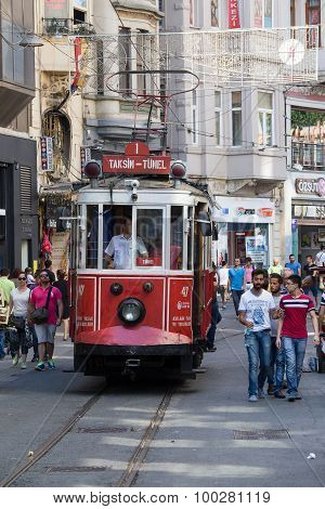 Red Vintage Tram On Taksim Square In Istanbul, Turkey