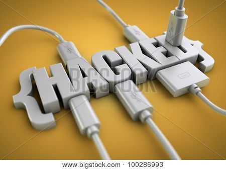 3D title of the word hacked has usb and data cables plugged into it extracting information. Concept for internet and phone hacking hacking information and websites. poster