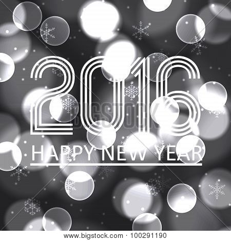Happy New Year 2016 On Grayscale Bokeh Circle Background Eps10