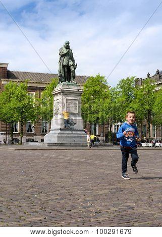 The Hague, Netherlands - May 8, 2015: Children At Het Plein In The Hague