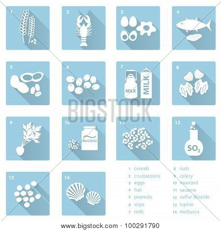 Set Of Typical Food Alergens For Restaurants And Meal Flat Blue Icons Eps10