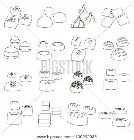 Sweet Chocolate Truffles Styles Outline Icons Set Eps10