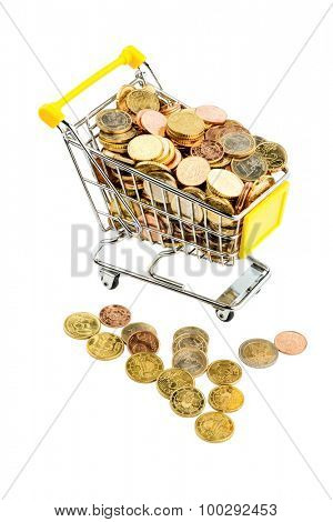 a shopping cart is well stocked with euro coins photo icon for purchasing power and consumption