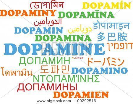 Background concept wordcloud multilanguage international many language illustration of dopamine