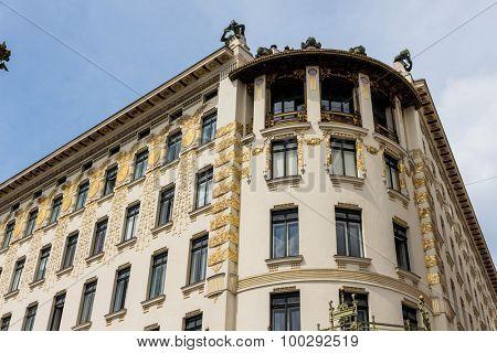 the vienna lines houses on naschmarkt. architecture of otto wagner in vienna, austria