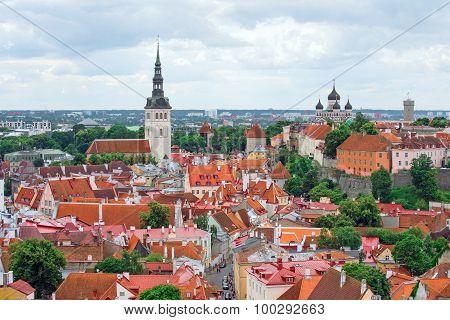 Panoramic view of old town of Tallinn Estonia.