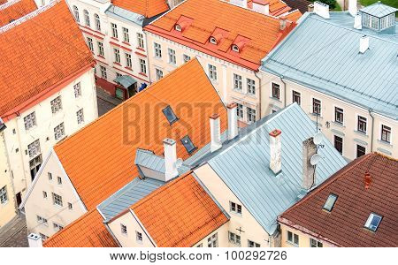 Houses With Red Roofs In Old Tallinn.