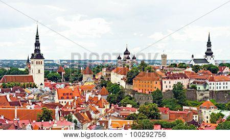 Three Churches In Old Tallinn. Panorama View.